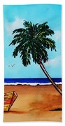 Tropical Beach Scene Bath Towel