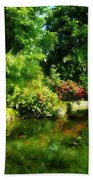 Tropical Garden By Lake Bath Towel