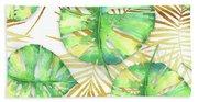 Tropical Haze Blanche Variegated Monstera Leaves, Golden Palm Fronds On Black Bath Towel