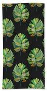 Tropical Leaves On Black- Art By Linda Woods Bath Towel
