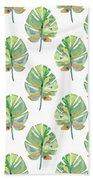 Tropical Leaves On White- Art By Linda Woods Bath Towel by Linda Woods