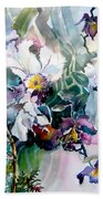 Tropical White Orchids Bath Towel