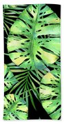 Tropics Noir, Tropical Monstera And Palm Leaves At Night Bath Towel
