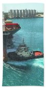 Tugboat At Freeport, Grand Bahamas Harbor Bath Towel
