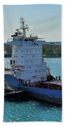 Tugboat Helping Container Ship Out Of Harbor Hand Towel