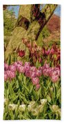 Tulip Bed At Longwood Gardens In Pa Bath Towel