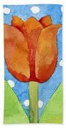 Tulip Blue White Spot Background Bath Towel