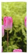 Tulip Garden Landscape Art Prints Pink Tulips Floral Baslee Troutman Bath Towel