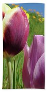 Tulips Artwork Tulip Flowers Spring Meadow Nature Art Prints Bath Towel
