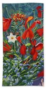 Tulips By The Gate Bath Towel