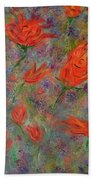 Tulips- Floral Art- Abstract Painting Bath Towel