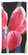 Tulips On Black Bath Towel