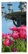 Tulips With Bartholdi Fountain Bath Towel