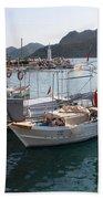 Turkish Fishing Boats Moored At Bozburun Bath Towel