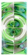 Turquoise And Green Abstract Collage Bath Towel