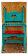Turquoise And Red Chair Bath Towel