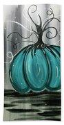 Turquoise Teal Surreal Pumpkin Bath Towel