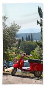 Tuscan Landscape And Scooter Bath Towel