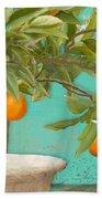 Tuscan Orange Topiary - Damask Pattern 3 Bath Towel
