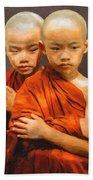 Twins In Orange Hand Towel