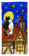 Two Cats On The Roof Bath Towel