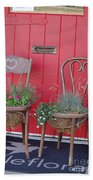 Two Chairs With Plants Bath Towel