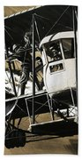 Two Crewmen Amid The Wires And Struts Of An Ilia Mourometz II Bomber Bath Towel
