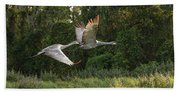 Two Florida Sandhill Cranes In Flight Bath Towel
