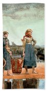 Two Girls On The Beach Hand Towel
