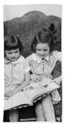Two Girls Reading A Book, C.1920-30s Bath Towel