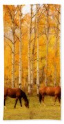 Two Horses In The Autumn Colors Bath Towel