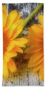 Two Lovely Sunflowers Bath Towel