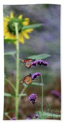 Two Monarch Butterflies And Sunflower 2011 Bath Towel