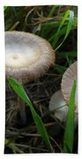 Two Mushrooms In Grass Bath Towel