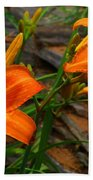 Two Orange Daylilies Bath Towel