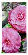 Two Pink Camellias - Digital Art Bath Towel