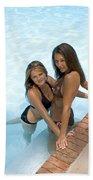 Two Pretty Women In A Pool. Bath Towel
