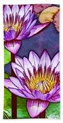 Two Purple Lotus Flower Bath Towel