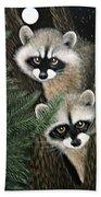 Two Raccoons Bath Towel