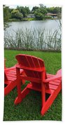 Two Red Chairs Overlooking Lake Formosa Bath Towel