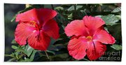 Two Red Hibiscus With Border Bath Towel