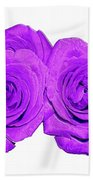 Two Roses Violet Purple And Enameled Effects Bath Towel