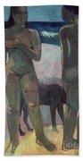 Two Tahitian Women On The Beach Bath Towel by Paul Gauguin