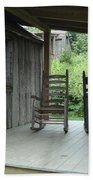 Two Tranquil Rocking Chairs In The Mountains Bath Towel