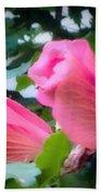 Two Unopen Pink Hibiscus Flowers Bath Towel
