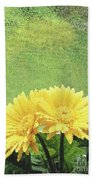 Two Yellow Gerber Daisies Bath Towel