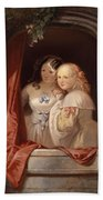 Two Young Ladies At The Window Bath Towel