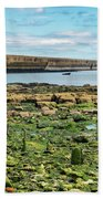Tynemouth Pier Landscape In Color 2 Bath Towel