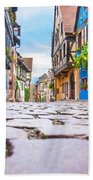 half-timbered houses, Riquewihr, Alsace, France   Bath Towel