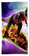 Tyrannosaurus Rex Dinosaur Riding Taco In Space Hand Towel